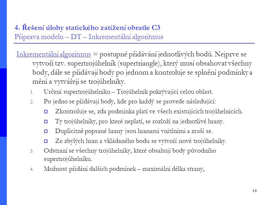 4. Řešení úlohy statického zatížení obratle C3 Příprava modelu – DT – Inkrementální algoritmus