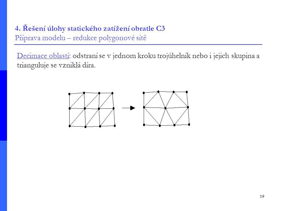 4. Řešení úlohy statického zatížení obratle C3 Příprava modelu – redukce polygonové sítě