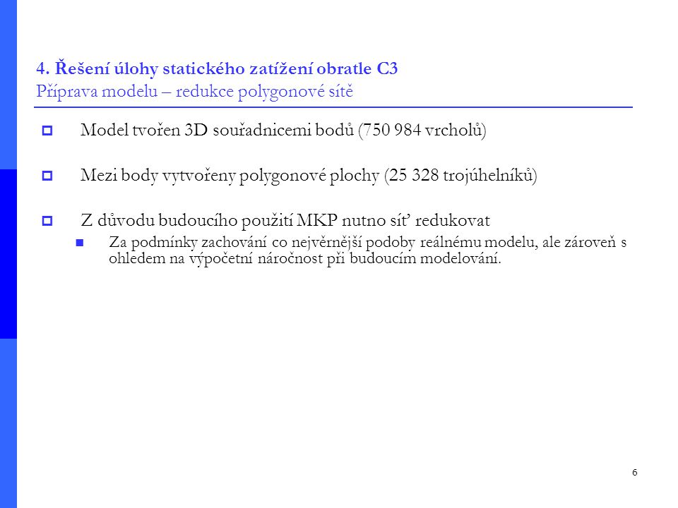 Model tvořen 3D souřadnicemi bodů (750 984 vrcholů)
