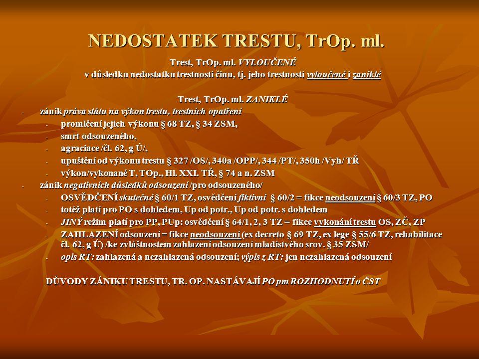 NEDOSTATEK TRESTU, TrOp. ml.