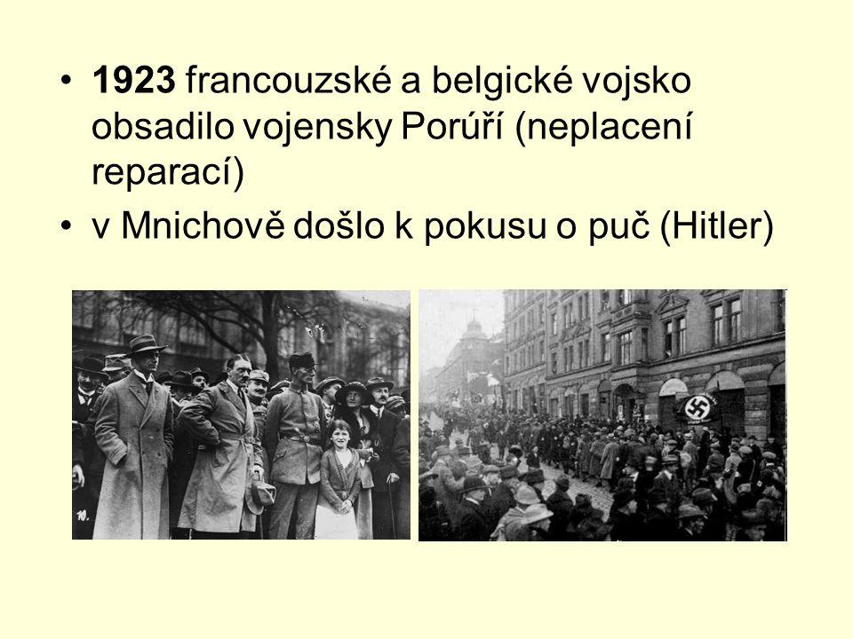 1923 francouzské a belgické vojsko obsadilo vojensky Porúří (neplacení reparací)