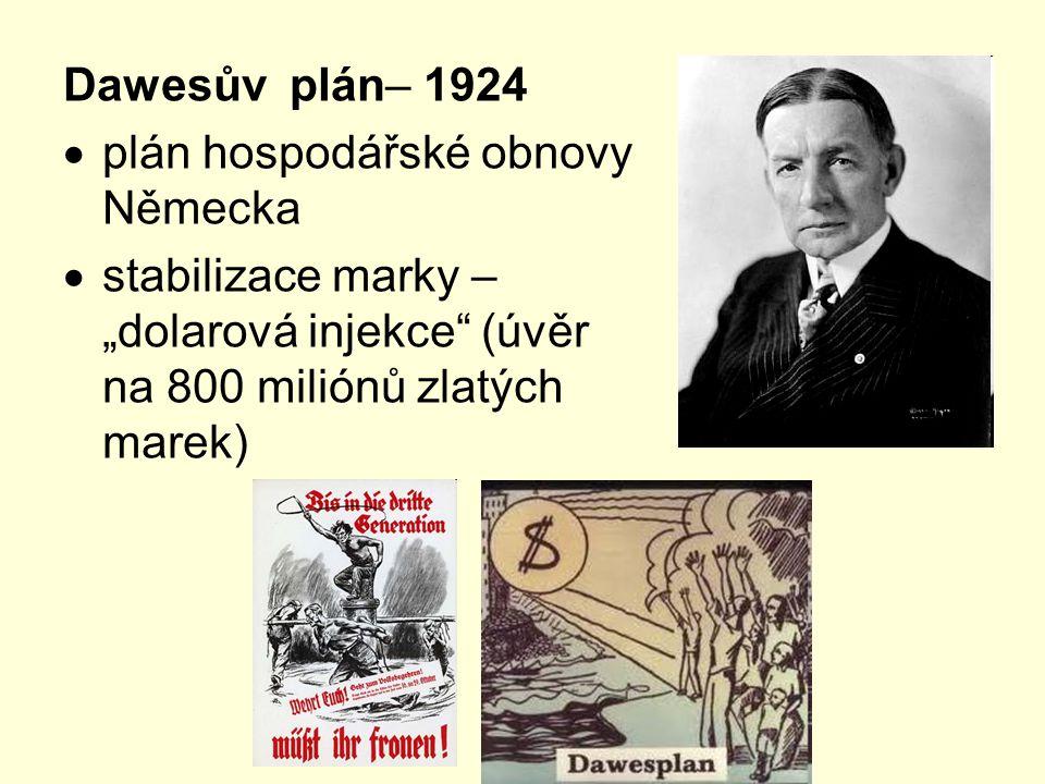 Dawesův plán– 1924 plán hospodářské obnovy Německa.