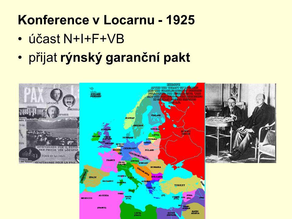 Konference v Locarnu - 1925 účast N+I+F+VB přijat rýnský garanční pakt
