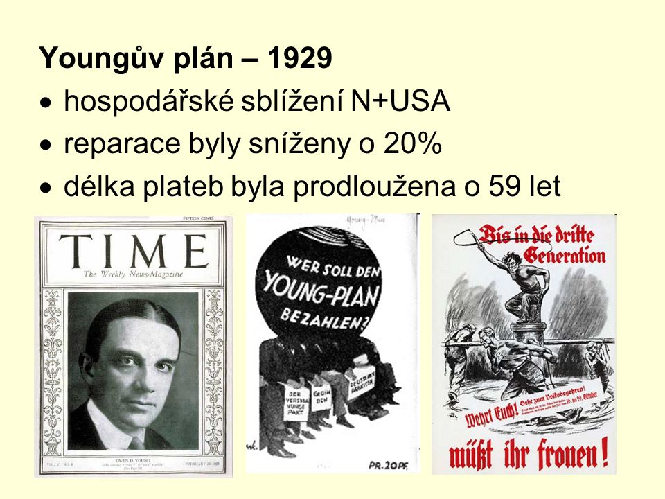 Youngův plán – 1929 hospodářské sblížení N+USA.
