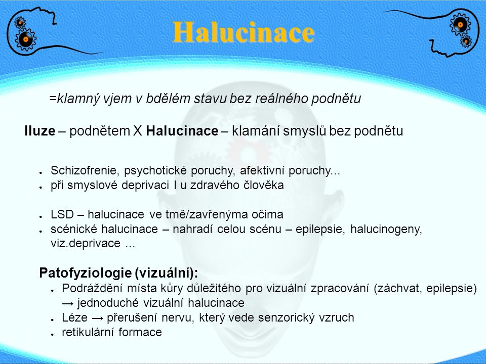 Halucinace =klamný vjem v bdělém stavu bez reálného podnětu