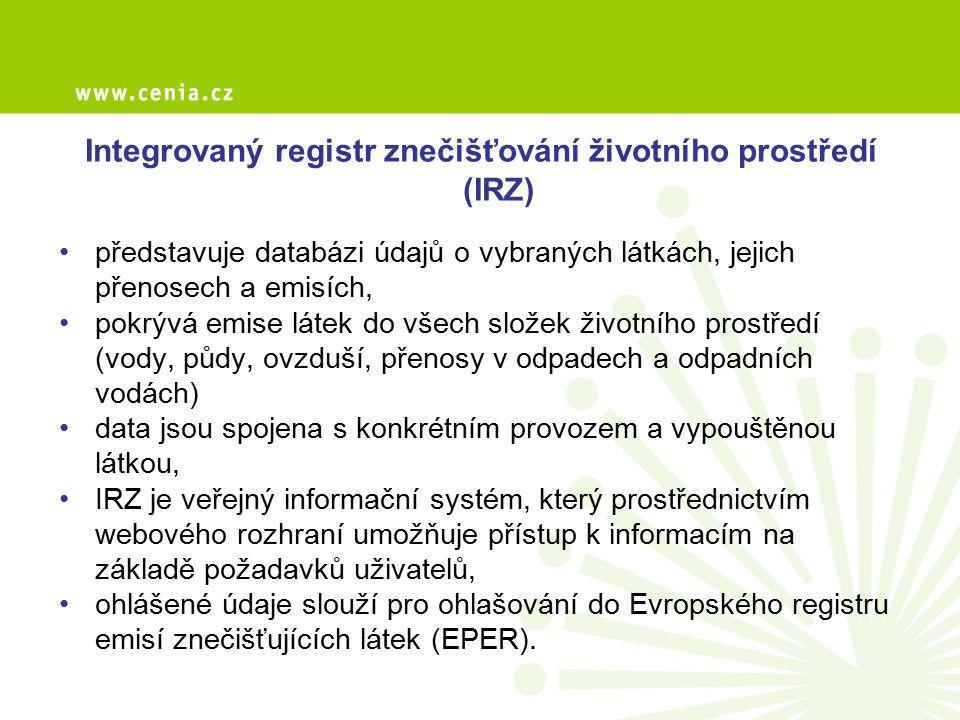 Integrovaný registr znečišťování životního prostředí (IRZ)
