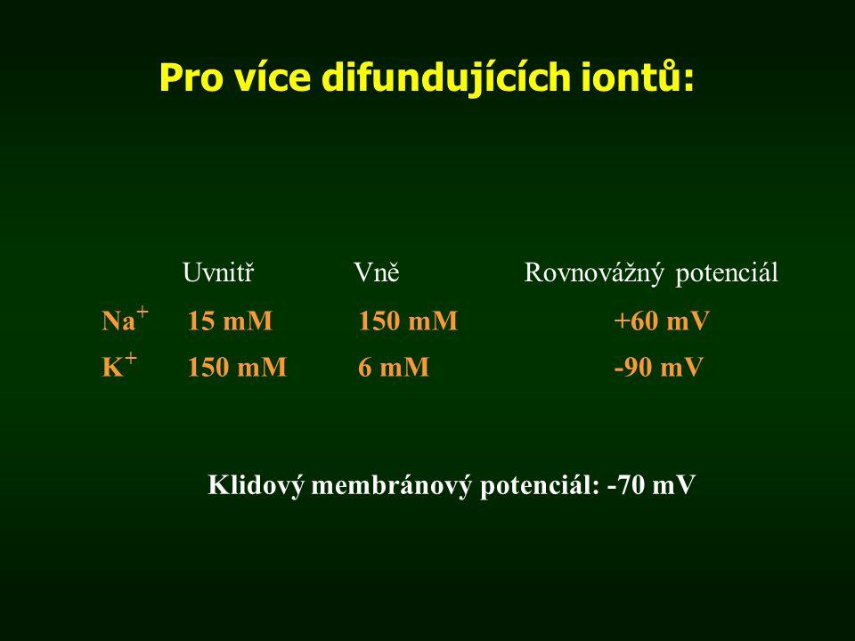 Pro více difundujících iontů: