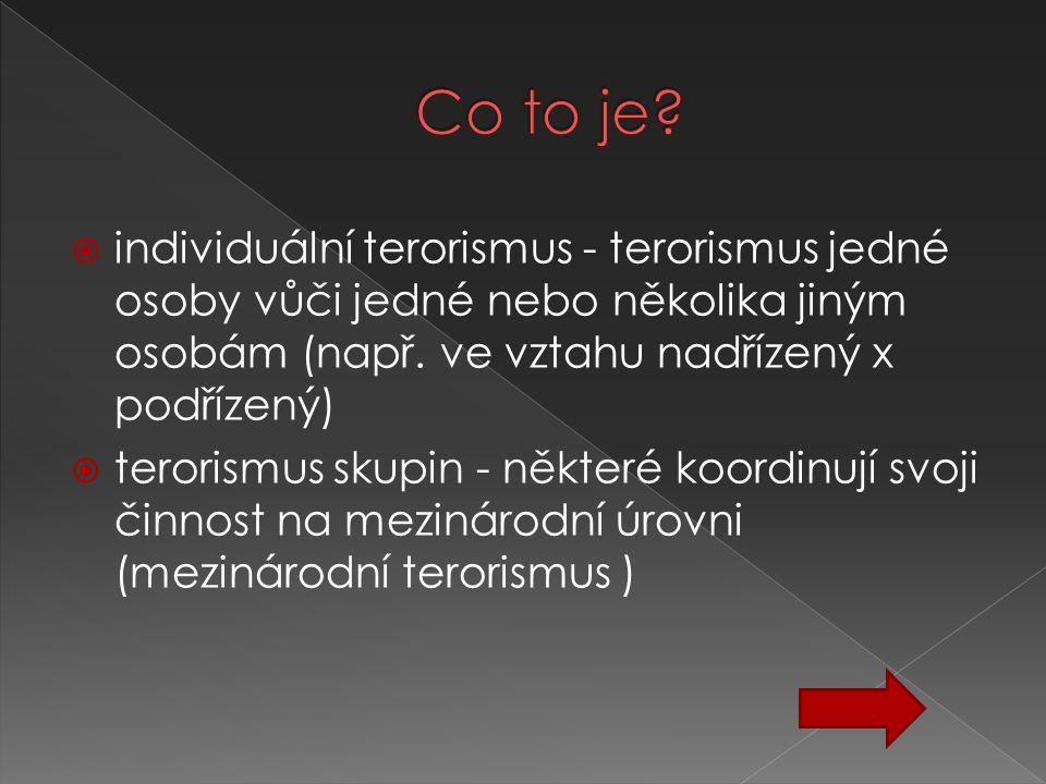 Co to je individuální terorismus - terorismus jedné osoby vůči jedné nebo několika jiným osobám (např. ve vztahu nadřízený x podřízený)