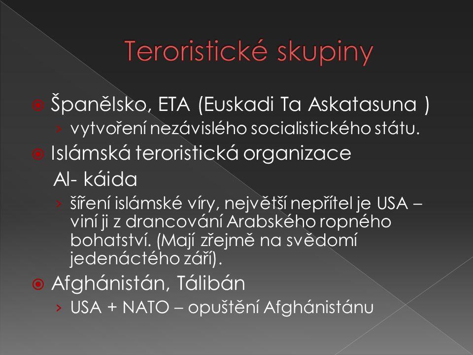 Teroristické skupiny Španělsko, ETA (Euskadi Ta Askatasuna )