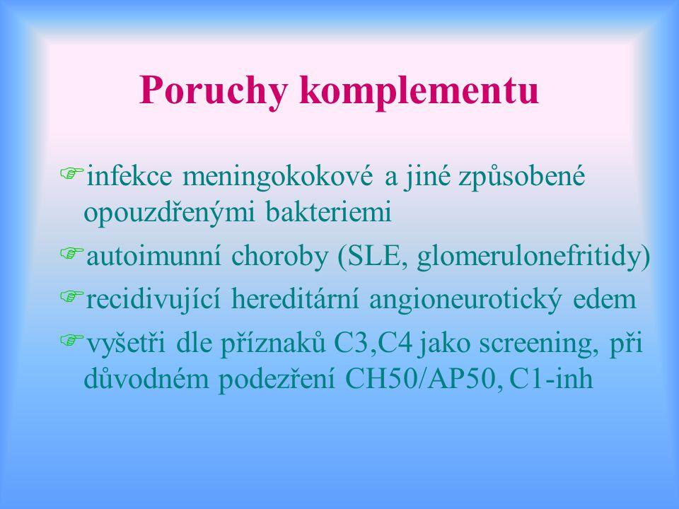 Poruchy komplementu infekce meningokokové a jiné způsobené opouzdřenými bakteriemi. autoimunní choroby (SLE, glomerulonefritidy)