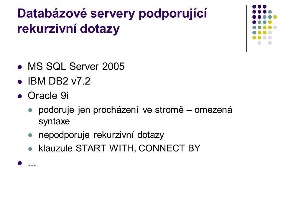 Databázové servery podporující rekurzivní dotazy