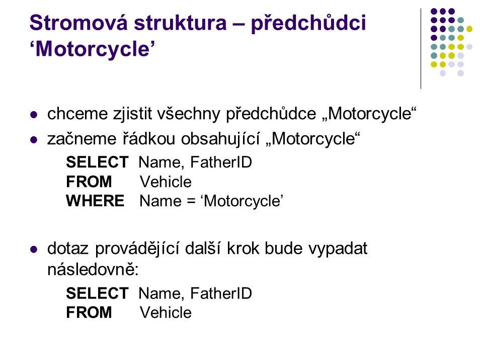 Stromová struktura – předchůdci 'Motorcycle'