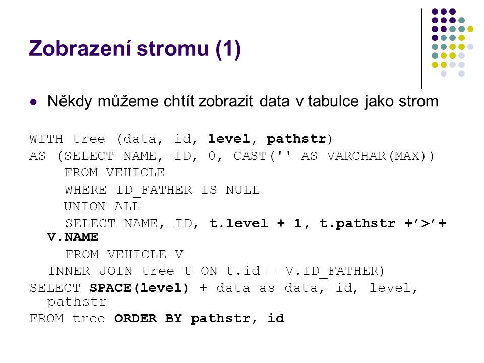 Zobrazení stromu (1) Někdy můžeme chtít zobrazit data v tabulce jako strom. WITH tree (data, id, level, pathstr)