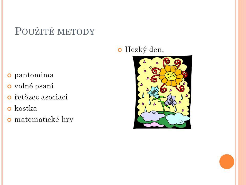 Použité metody Hezký den. pantomima volné psaní řetězec asociací