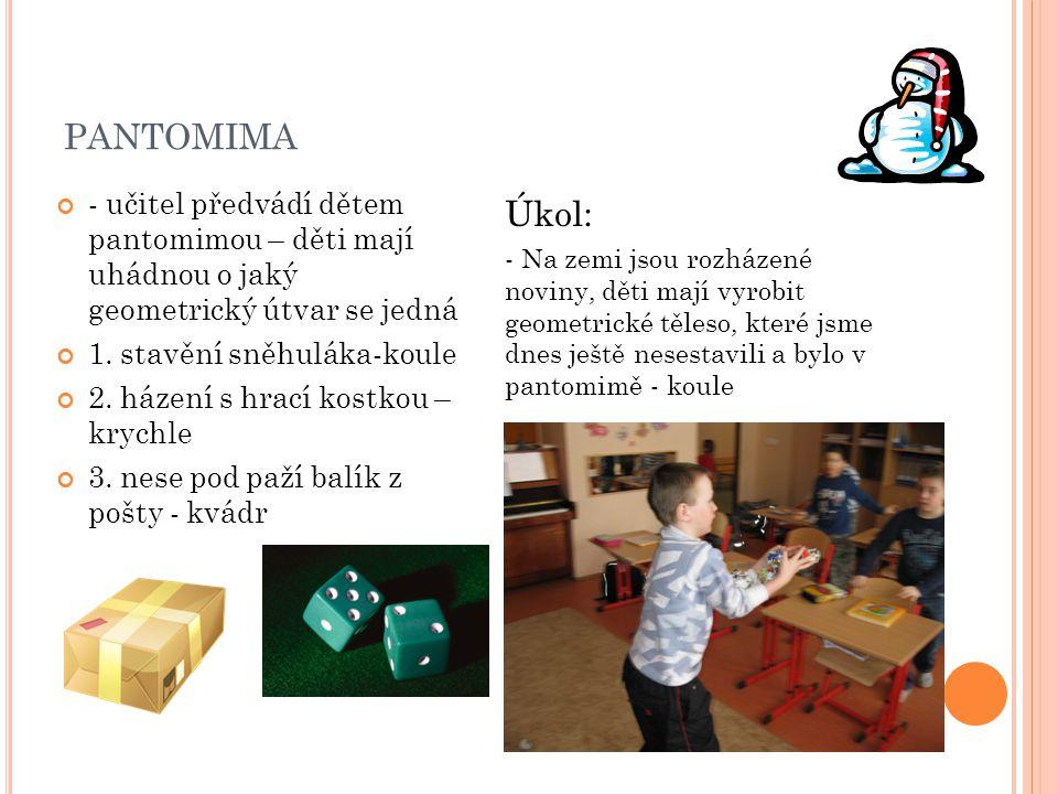 pantomima - učitel předvádí dětem pantomimou – děti mají uhádnou o jaký geometrický útvar se jedná.