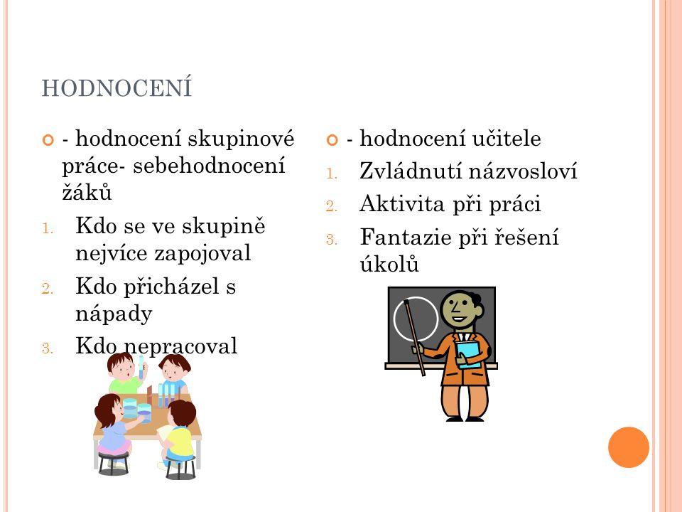 hodnocení - hodnocení skupinové práce- sebehodnocení žáků