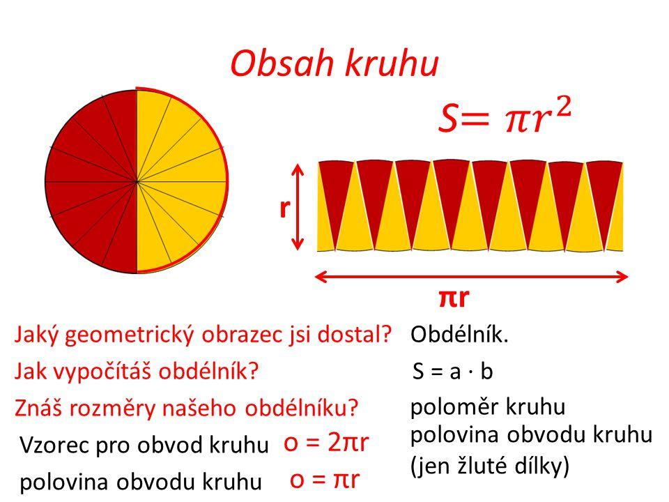 S=𝜋 𝑟 2 Obsah kruhu r r πr o = 2πr o = πr