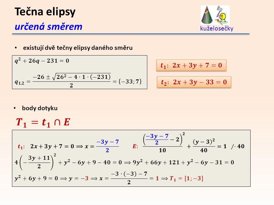 Tečna elipsy určená směrem 𝑻 𝟏 = 𝒕 𝟏 ∩𝑬 kuželosečky