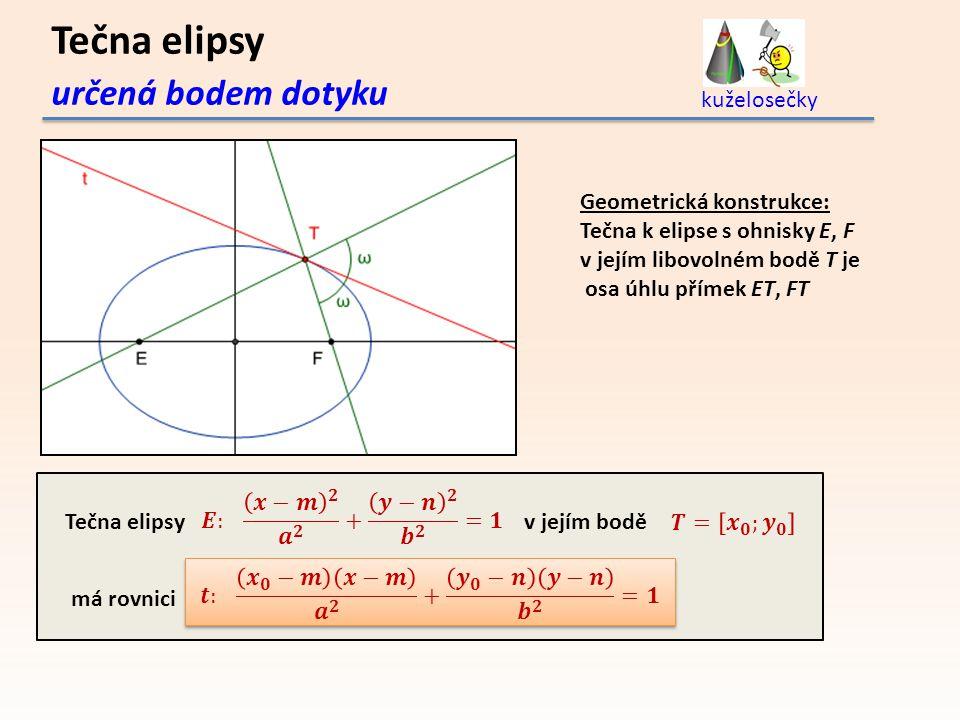 Tečna elipsy určená bodem dotyku kuželosečky Geometrická konstrukce: