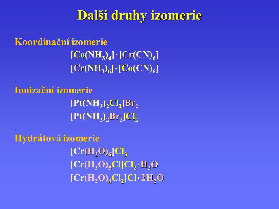 Další druhy izomerie Koordinační izomerie Ionizační izomerie