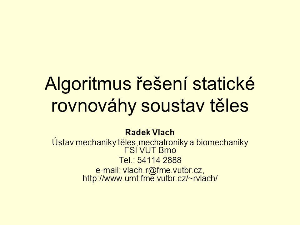 Algoritmus řešení statické rovnováhy soustav těles