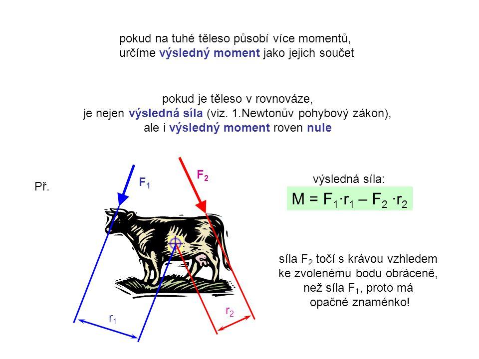 M = F1∙r1 – F2 ∙r2 pokud na tuhé těleso působí více momentů,
