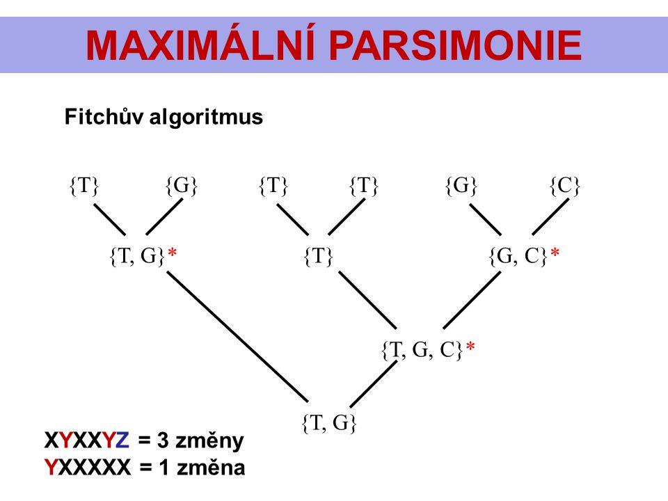 MAXIMÁLNÍ PARSIMONIE Fitchův algoritmus {T} {G} {T} {T} {G} {C}