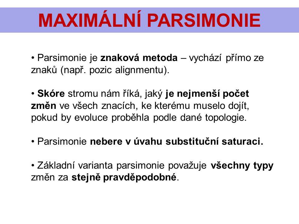 MAXIMÁLNÍ PARSIMONIE Parsimonie je znaková metoda – vychází přímo ze znaků (např. pozic alignmentu).