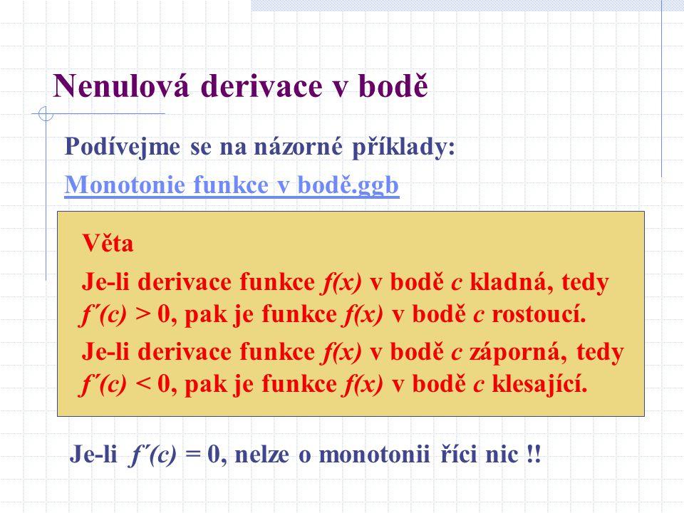 Nenulová derivace v bodě