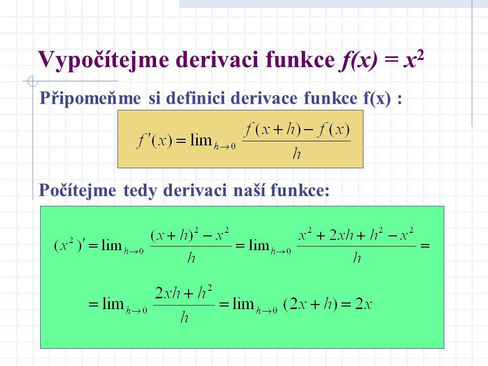 Vypočítejme derivaci funkce f(x) = x2