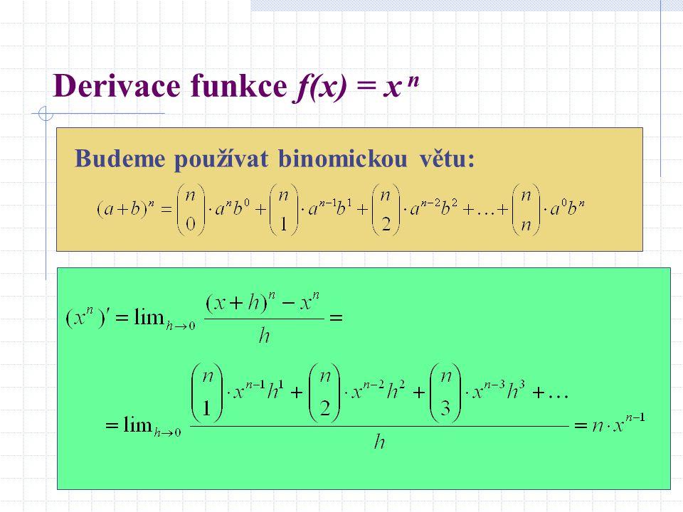 Derivace funkce f(x) = x n