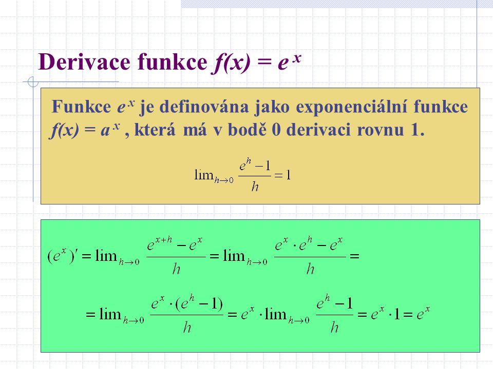 Derivace funkce f(x) = e x