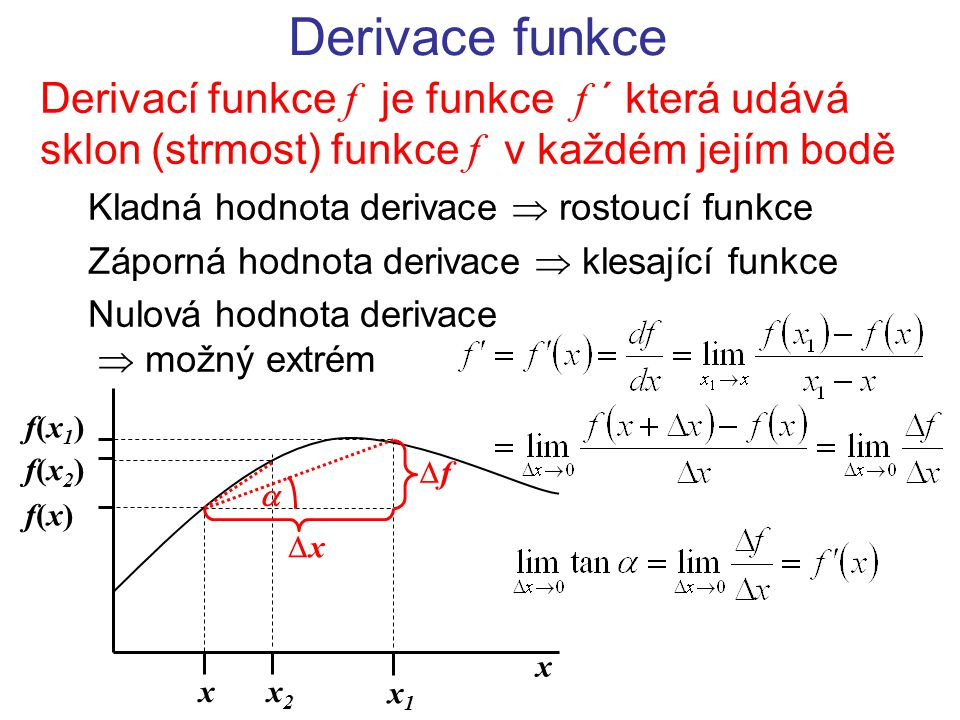 Derivace funkce Derivací funkce f je funkce f ´ která udává sklon (strmost) funkce f v každém jejím bodě.