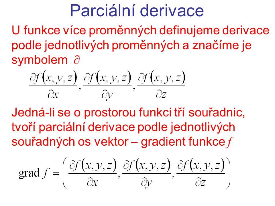 Parciální derivace U funkce více proměnných definujeme derivace podle jednotlivých proměnných a značíme je symbolem 