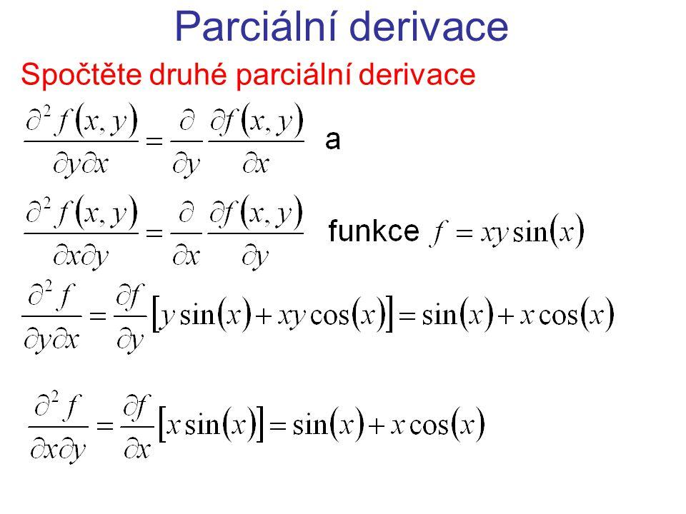 Spočtěte druhé parciální derivace