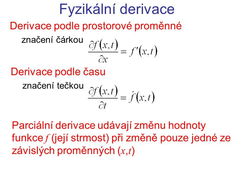 Derivace podle prostorové proměnné značení čárkou