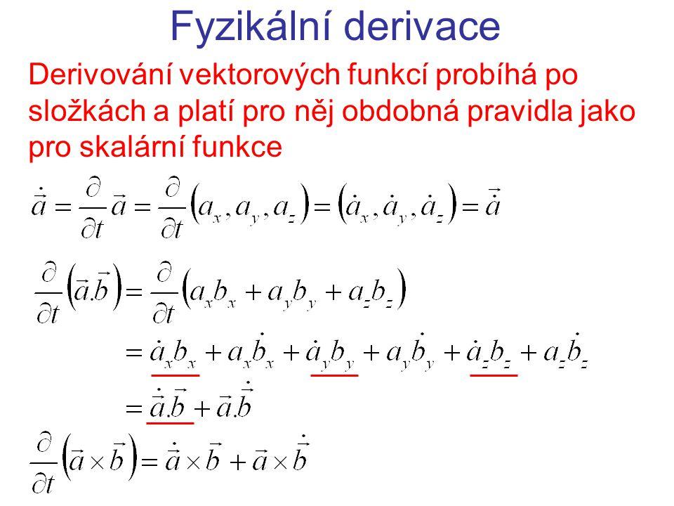 Fyzikální derivace Derivování vektorových funkcí probíhá po složkách a platí pro něj obdobná pravidla jako pro skalární funkce.