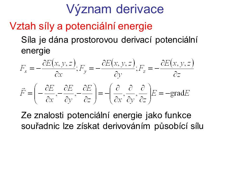 Význam derivace Vztah síly a potenciální energie