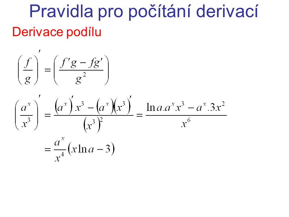 Pravidla pro počítání derivací