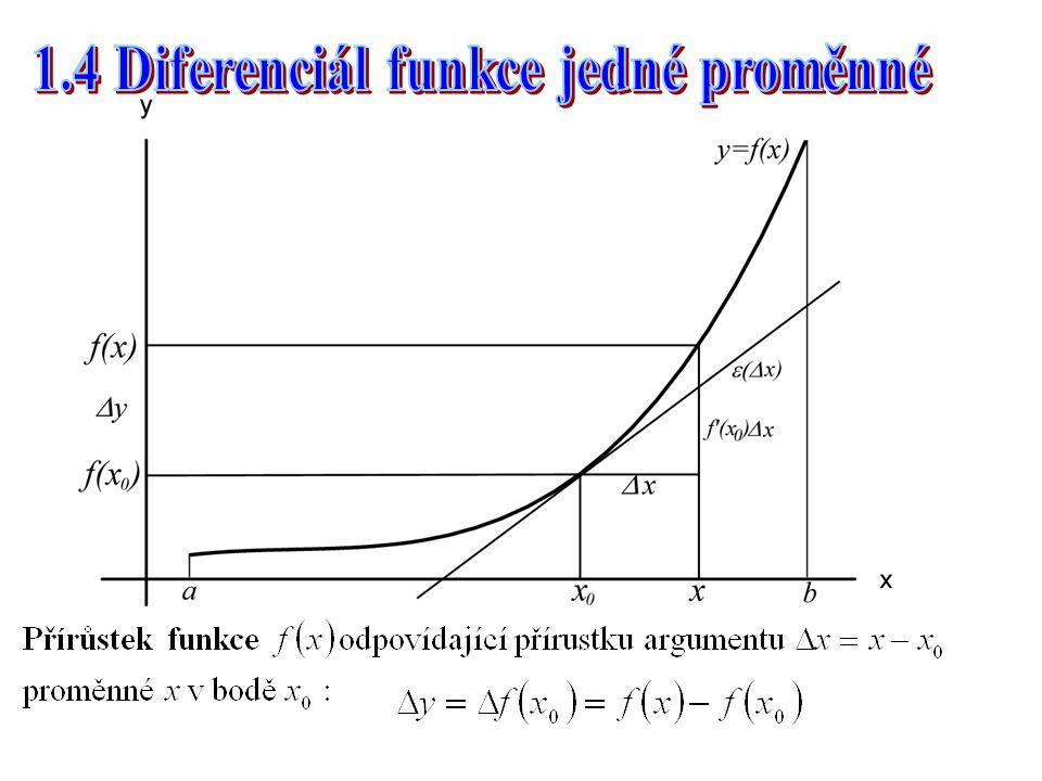 1.4 Diferenciál funkce jedné proměnné