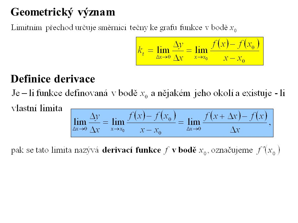 Geometrický význam Definice derivace