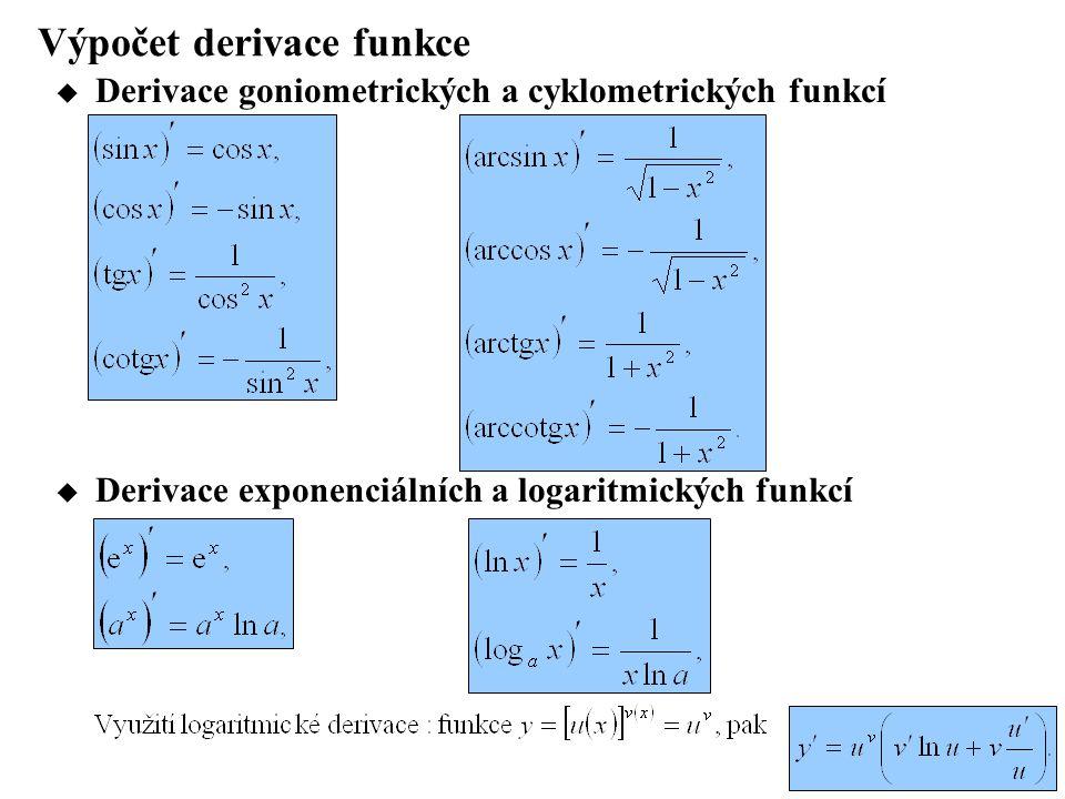 Výpočet derivace funkce