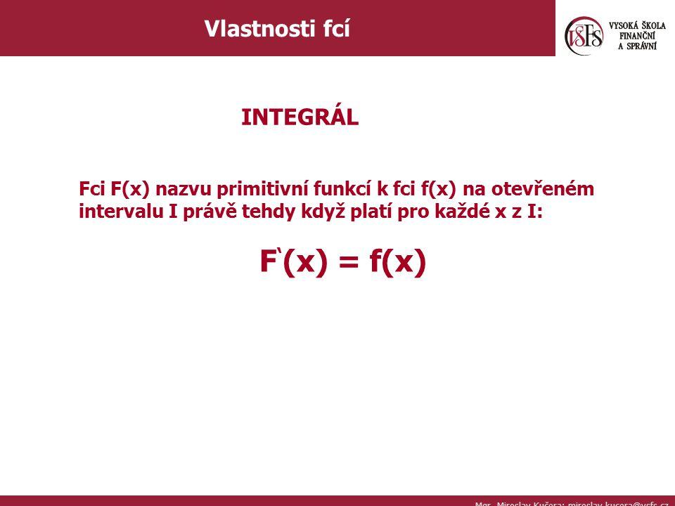 F'(x) = f(x) Vlastnosti fcí INTEGRÁL
