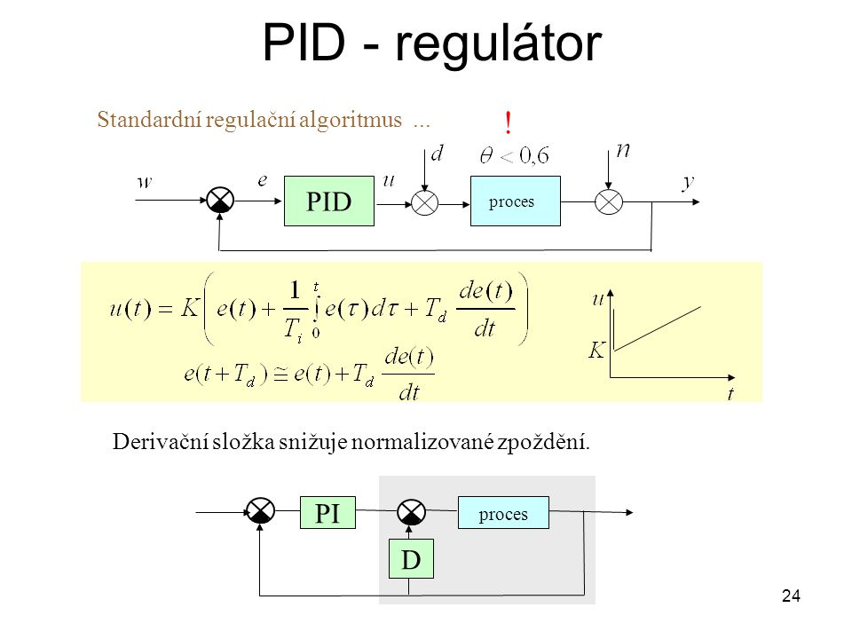 PID - regulátor ! PID PI D Standardní regulační algoritmus ...