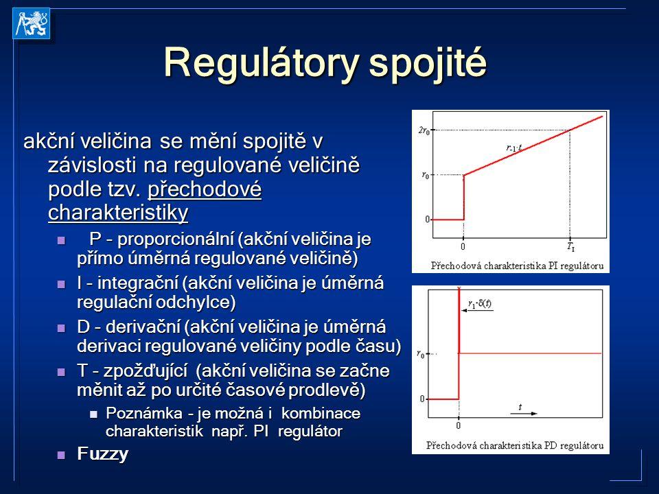 Regulátory spojité akční veličina se mění spojitě v závislosti na regulované veličině podle tzv. přechodové charakteristiky.