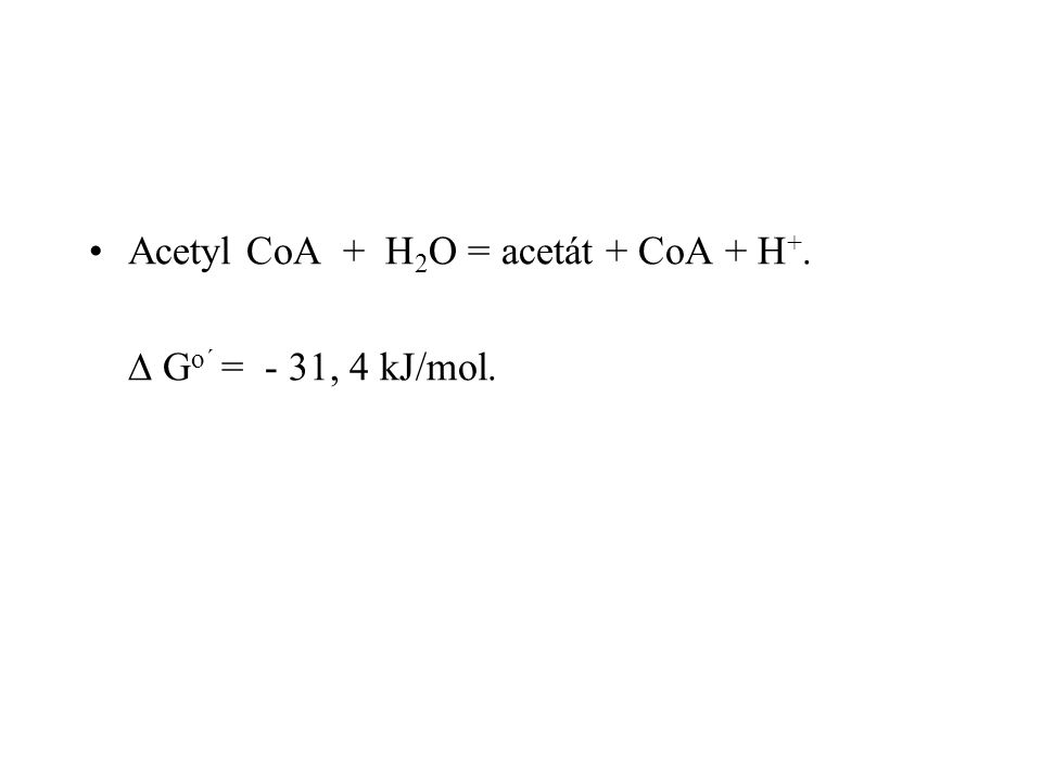 Acetyl CoA + H2O = acetát + CoA + H+.