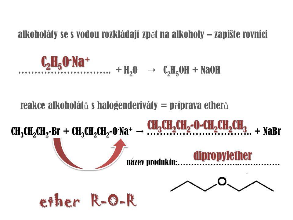 ether R-O-R C2H5O-Na+ CH3CH2CH2-O-CH2CH2CH3 dipropylether