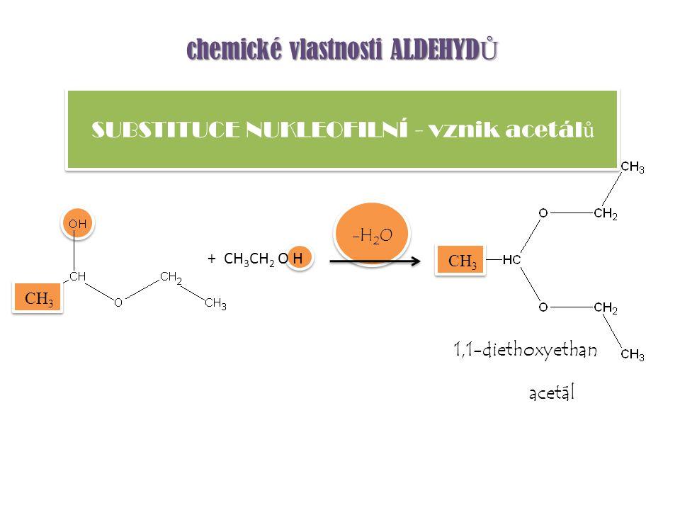 SUBSTITUCE NUKLEOFILNÍ - vznik acetálů