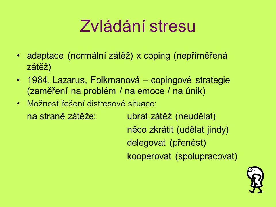 Zvládání stresu adaptace (normální zátěž) x coping (nepřiměřená zátěž)