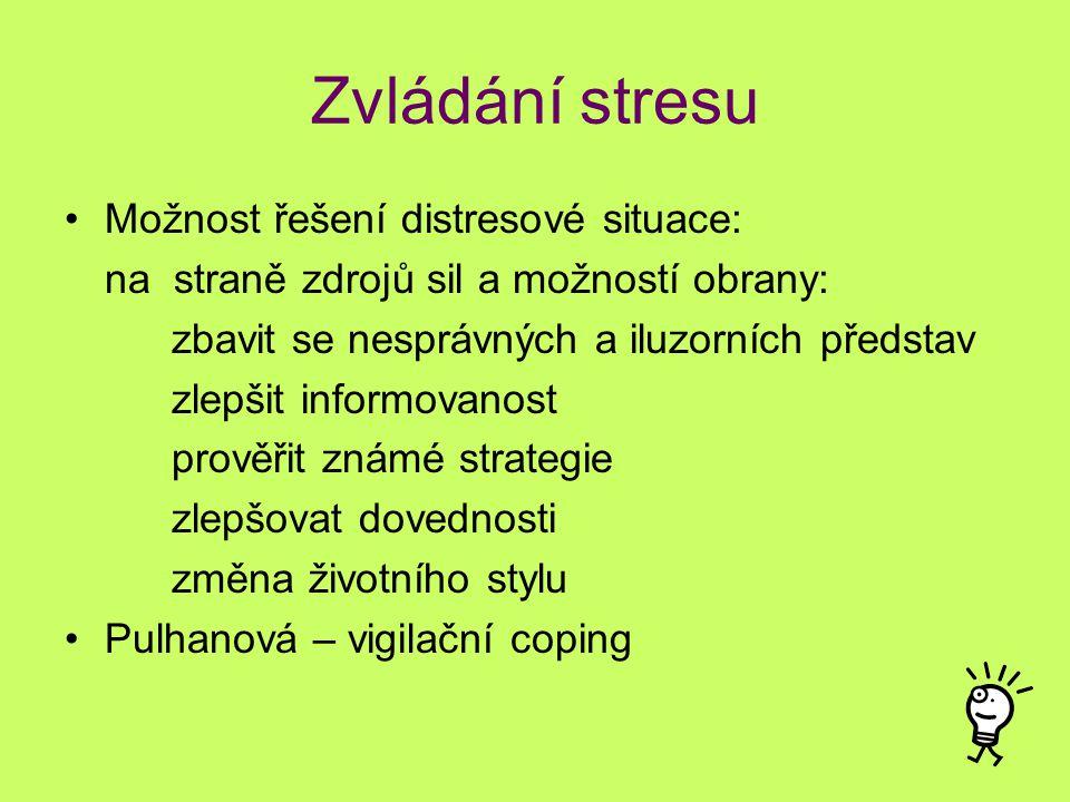 Zvládání stresu Možnost řešení distresové situace: